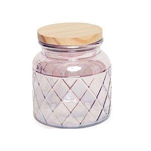 Pote de Vidro Rosa Pastel Losango M - 15x10x10cm - Linha Drops - Cromus - Rizzo