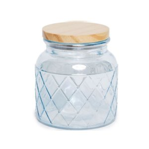 Pote de Vidro Azul Pastel Losango M - 15x10x10cm - Linha Drops - Cromus - Rizzo