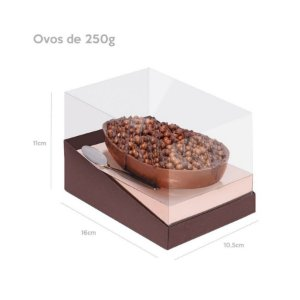 Caixa Specialla para Meio Ovo 250g Rosê Gold e Marrom - 06 unidades - Cromus Páscoa - Rizzo