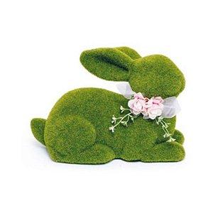 Coelho Deitado Verde Rústico Laço e Flor G - 20cm x 30m x 20cm - Linha Rústic - Cromus Páscoa Rizzo