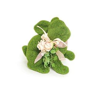 Coelho em Pé Verde Rústico Flor P - 18cm x 19m x 12cm - Linha Rústic - Cromus Páscoa Rizzo