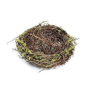 Ninho em Rattan Verde Rústico - 10cm - Cromus Páscoa - Rizzo Confeitaria