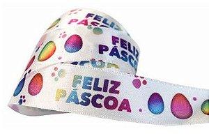 Fita de Páscoa em Cetim 22mmx10m Feliz Páscoa Coelhos Coloridos Off com Fundo Off White ECF005TR 042 Progresso Rizzo Emb