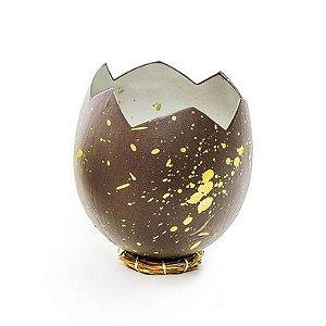 Casca Ovo em Pé com Suporte de Fibra Marrom Ouro - 10cm x 8cm - Cromus Páscoa - Rizzo Confeitaria