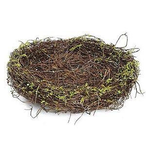 Ninho em Rattan Verde Rústico - G 20cm - Cromus Páscoa - Rizzo Confeitaria