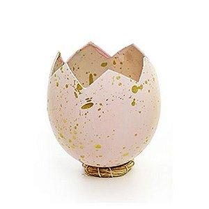 Casca Ovo em Pé com Suporte de Fibra Rosa - 10cm x 8cm - Cromus Páscoa - Rizzo Embalagens