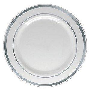 Prato Refeição Borda Prata   - 6 un - Silver Festas