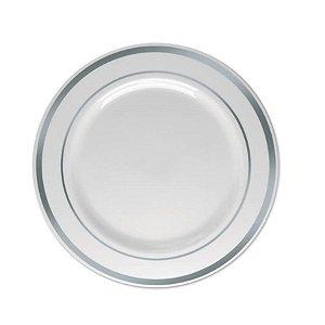 Prato Sobremesa Borda Prata - 6 un - 15 cm - Silver Festas