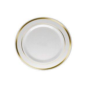 Prato Sobremesa Borda Dourada - 6 un - 15 cm - Silver Festas