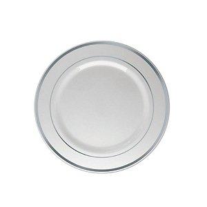Prato Sobremesa Borda Prata - 6 un - 19 cm - Silver Festas
