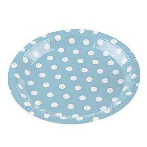 Prato Papel Biodegradável Poa Azul Bebe - 10 un -  18 cm - Silver Festas