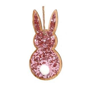 Tag de Coelho com Glitter Rosa - 8cm x 3,5 cm x 1cm - Cromus Páscoa