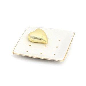 Prato em Cerâmica com Coração Ouro - 01 unidade - Cromus