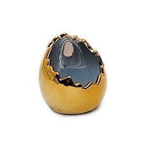 Casca de Ovo em Cerâmica Ouro 10x8x8cm - 01 unidade - Cromus Páscoa