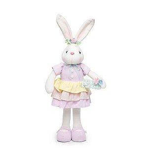 Coelha com Vestido e Placa Feliz Páscoa - 55cm x 20cm x 10cm - 1 unidade - Cromus Páscoa - Rizzo
