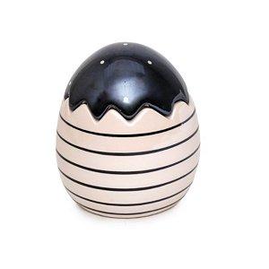 Ovo Decorativo Preto e Branco com Tampa em Cerâmica - 11cm x 10cm x 10cm - 1 unidade - Pérola - Cromus Páscoa
