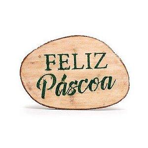 Quadro Decorativo em Madeira Feliz Páscoa Verde - 50x35x5cm - Cromus Páscoa - Rizzo