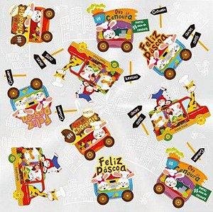 Folha para Ovos de Páscoa Food Truck Incolor 69x89cm - 05 unidades - Cromus Páscoa