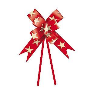 Laço Fácil Estrela Vermelha e Ouro- 10 unidades - Cromus - Rizzo