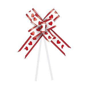 Laço Fácil Coração Branco e Vermelho - 10 unidades - Cromus - Rizzo