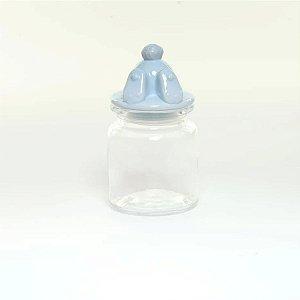 Pote Vidro e Cerâmica Pezinho Coelho Azul - 250ml - Cromus Páscoa