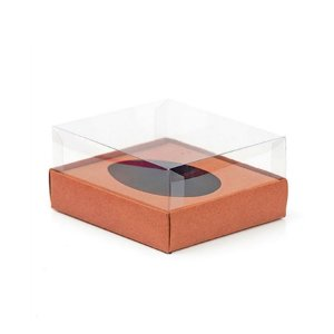 Caixa Ovo de Colher - Meio Ovo de 100g a 150g - 11cm x 12,7cm x 7,5cm - Rosê Gold - 5unidades - Assk
