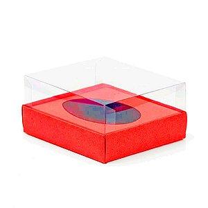 Caixa Ovo de Colher - Meio Ovo de 250g - 15cm x 13cm x 6,5cm - Vermelha - 5unidades - Assk