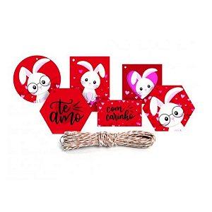 Kit Fechamento Para Presente Amor de Coração - 13 Peças - Cromus - Rizzo