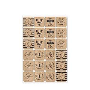 Cartela Adesiva Feito com Amor - 48 etiquetas - Cromus Páscoa - Rizzo