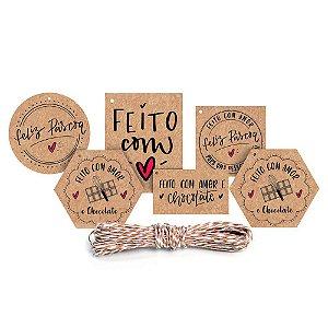 Kit Fechamento Para Presente Feito com Amor - 13 Peças - Cromus Páscoa - Rizzo