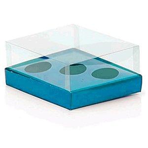 Caixa Ovo de Colher Triplo - Meio Ovo de 50g a 80g - Azul - 20,5 x 17 x 6,5 cm - 5 un - Assk Rizzo Confeitaria