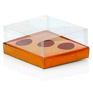 Caixa Ovo de Colher Triplo - Meio Ovo de 50g a 80g - Laranja - 20,5 x 17 x 6,5 cm - 5 un - Assk Rizzo Confeitaria