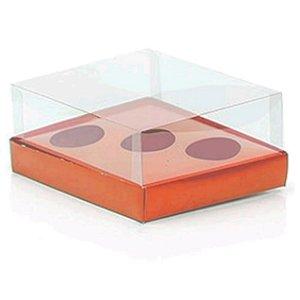 Caixa Ovo de Colher Triplo - Meio Ovo de 50g a 80g - Metalizada Rosê Gold - 20,5 x 17 x 6,5 cm - 5 un - Assk Rizzo Confe