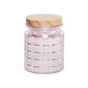 Pote de Vidro Rosa Pastel Quadriculado P - 12x8x8cm - Linha Drops - Cromus - Rizzo