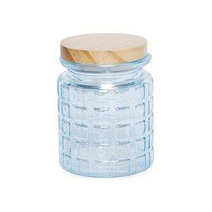Pote de Vidro Azul Pastel Quadriculado P - 12x8x8cm - Linha Drops - Cromus - Rizzo