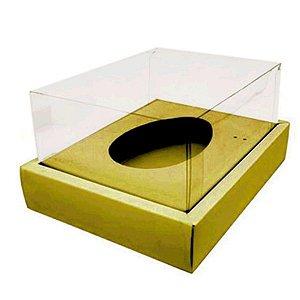 Caixa Ovo de Colher com Moldura - Meio Ovo de 250g - 20cm x 15,5cm x 10cm - Ouro - 5 unidades - Assk - Páscoa Rizzo