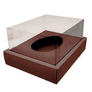 Caixa Ovo de Colher com Moldura - Meio Ovo de 250g - 20cm x 15,5cm x 10cm - Marrom - 5unidades - Assk - Páscoa