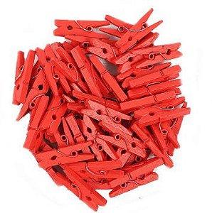 Mini Prendedor de Madeira Vermelho 3,5cm - 50 Unidades