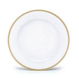Sousplat Branco com Borda Dourada 33cm - 01 unidade - Cromus - Rizzo