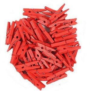 Mini Prendedor de Madeira Vermelho 2,5cm - 50 Unidades - Rizzo