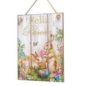Placa Decorativa em MDF Coelhos Feliz Páscoa - 01 unidade - Cromus Páscoa - Rizzo