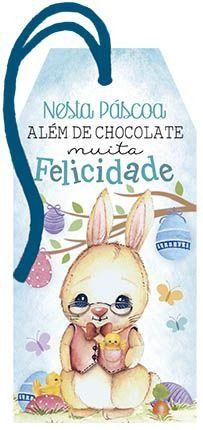 Tag de Páscoa Madeira Coelho Felicidade - LitoArte - Rizzo
