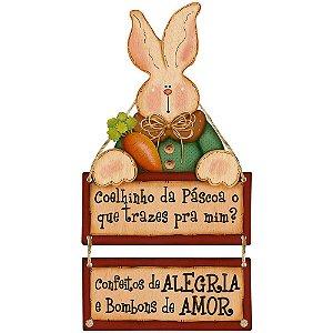 Placa Decorativa em MDF - Coelhinho da Páscoa- DHPMP-011 - LitoArte Rizzo Confeitaria