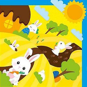 Saco Express 24x24cm para Ovos de 100g a 150g- Brincando no Bosque Amarelo - 05 unidades - Cromus Páscoa