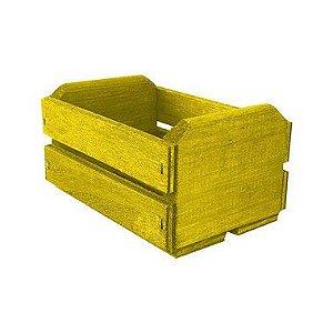 Caixote de Madeira Amarelo 11,5x8,5x6,5cm - 01 Unidade - Rizzo