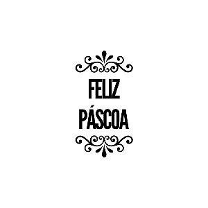 Carimbo Artesanal Feliz Páscoa - P - 2,5x5,5cm - Cod.RI-075 - Rizzo Confeitaria