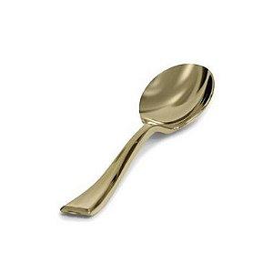 Colher de Sobremesa Premium Dourada - 8 un  - Silver Festas