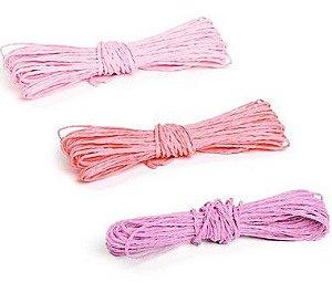 Kit Fios Decorativos de Papel Torcido Tons Rosa - 2mm x 10 metros - 3 unidades - Cromus Páscoa