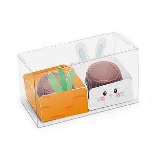 Caixa Clean 2 Docinhos com Forminhas - Feliz Páscoa Composê - 10 unidades - Cromus - Rizzo Embalagens