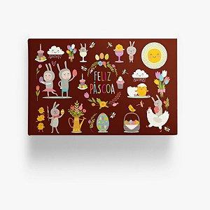 Caixa para Doces Feliz Páscoa Marrom 10u Ref.6865 - Miss Embalagens - Rizzo Confeitaria